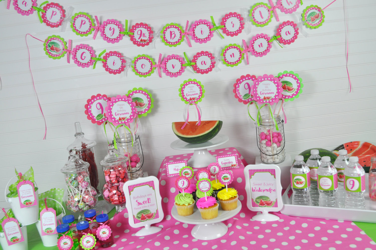 Watermelon Birthday BANNER Personalized Girls 1st Party Summer Decorations