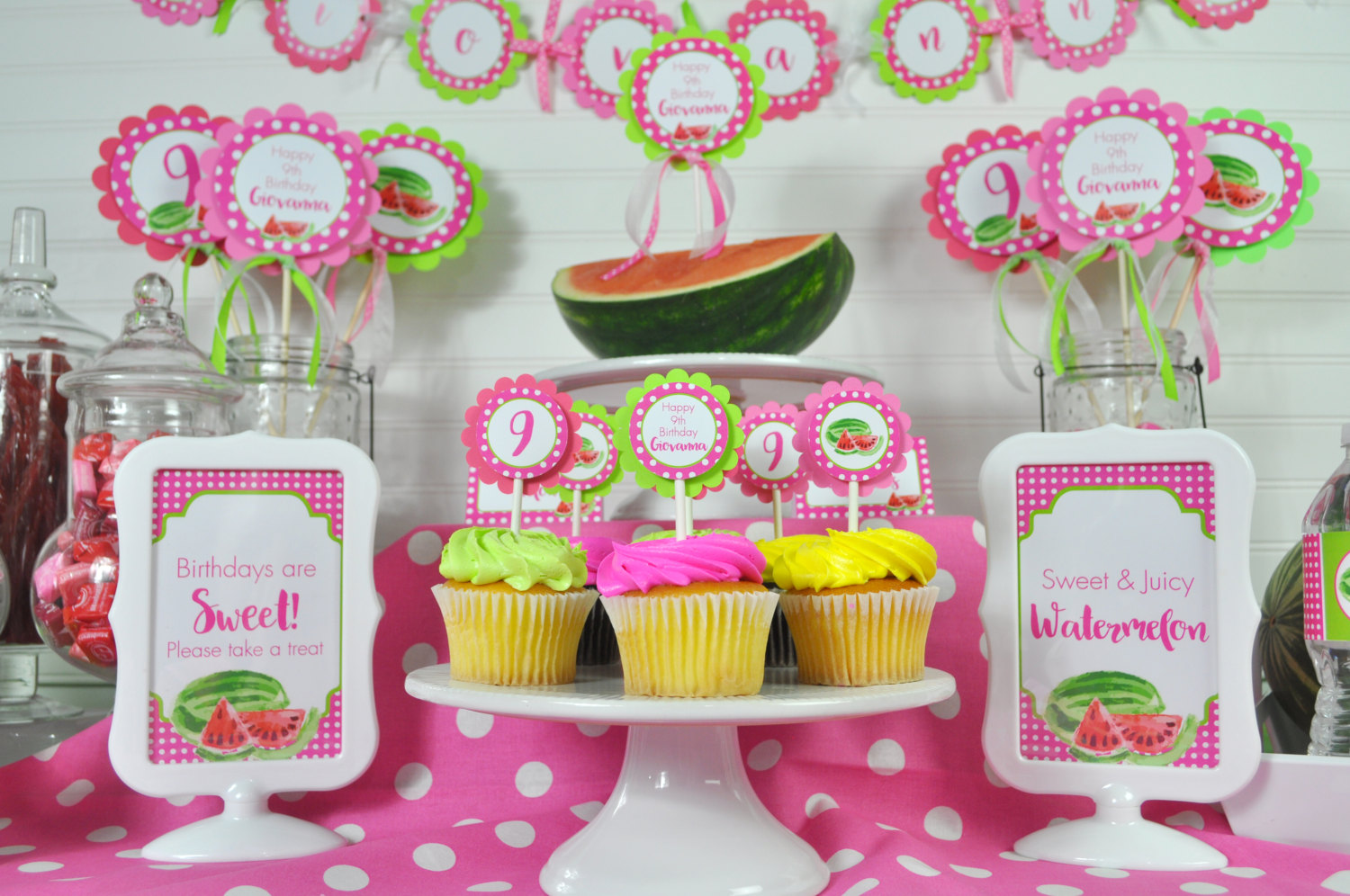 Watermelon Cupcake Toppers Birthday Party Personalized Decorations