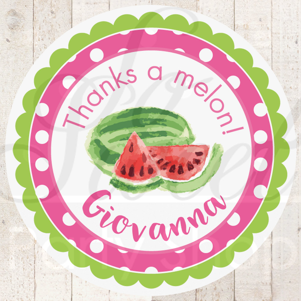 Watermelon Party Favor Stickers, Thank You Stickers, Birthday Party ...