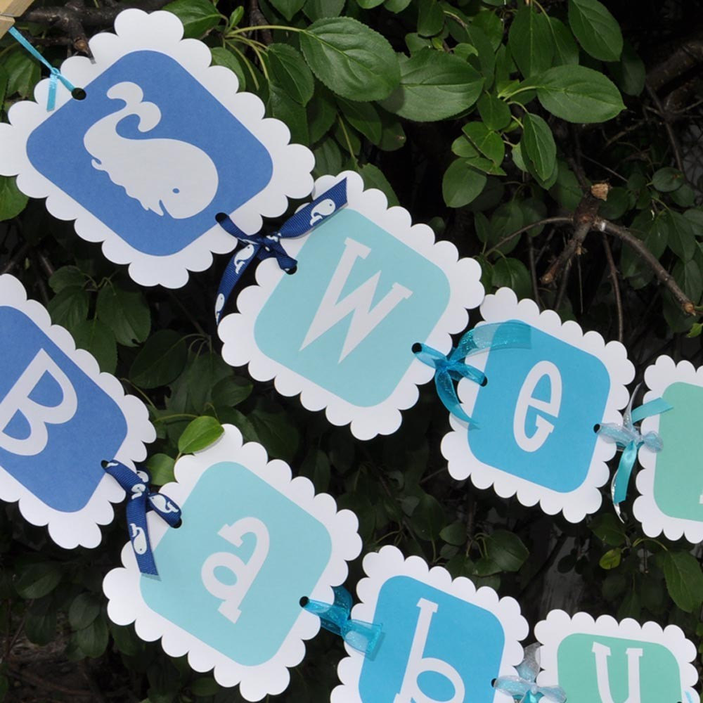 Whale Baby Shower Banner Boy Baby Shower Banner Whale Nautical Baby Shower Decorations Personalized Baby Shower Banner So Sweet Party Shop