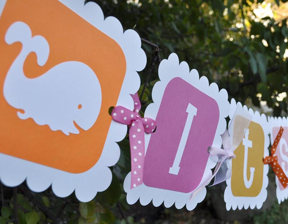 Whale Baby Shower Banner Girls Baby Shower Pink And Orange
