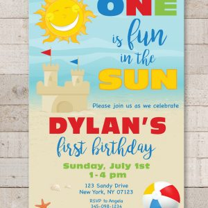 1st Birthday Party Invitations, One is Fun In The Sun Invitations, Beach Invitations, Pool Party Invites, Sunshine, Sandcastle – Set of 10