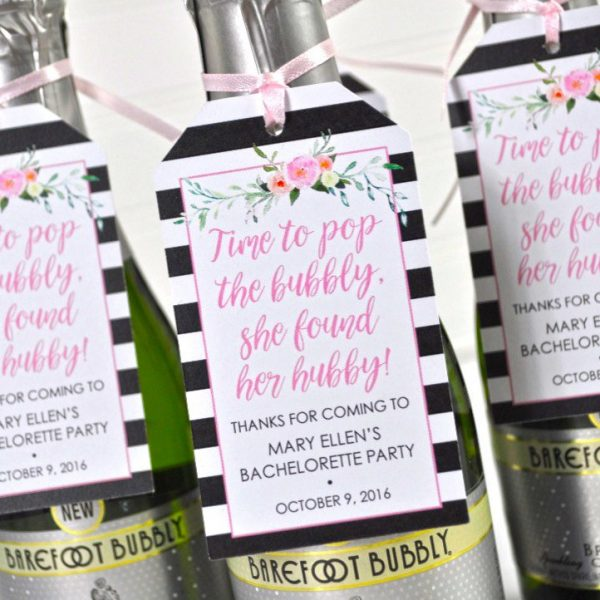 Custom Favor Tags Cheers Mini Wine Bottle Favor Tags Personalized Favor Tags Glam Favor Tags Pink and Silver Baby Shower Favors