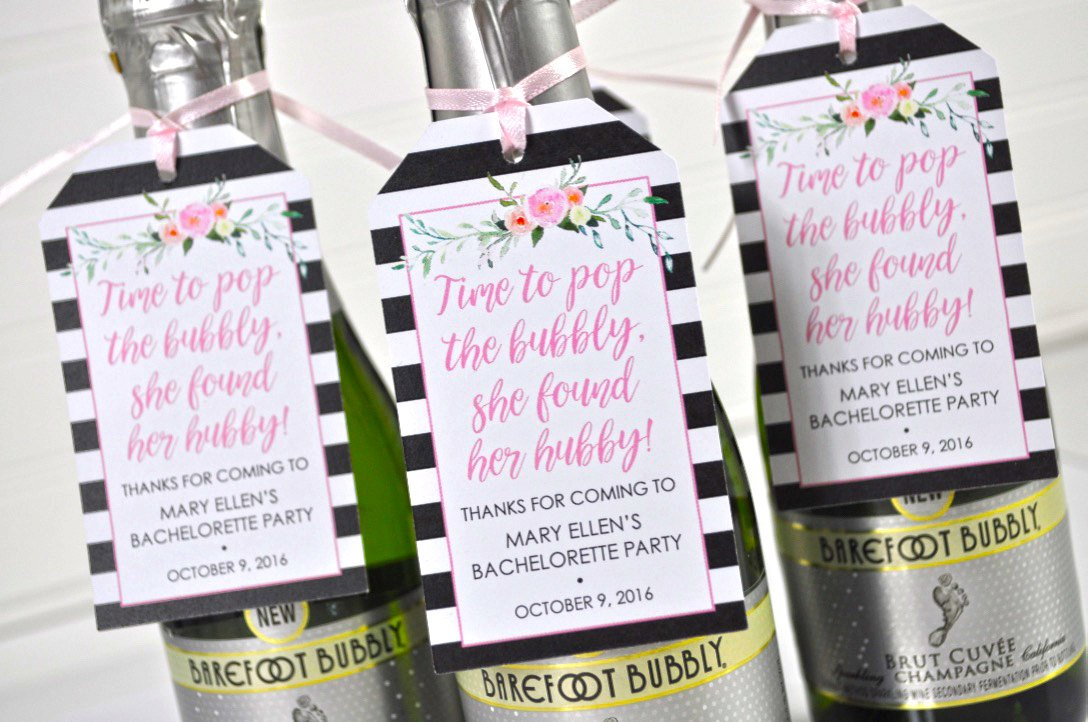 Bachelorette Party Favors Bridal Shower Favor Tags Personalized Wedding Favors Mini Wine Bottle Favors She Found Her Hubby Set Of 12
