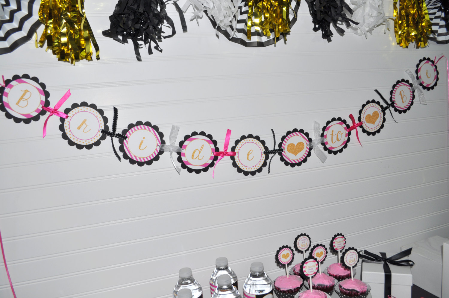 bridal shower banner bride to be banner bachelorette party banner wedding party banner pink black and gold heart banner party decor