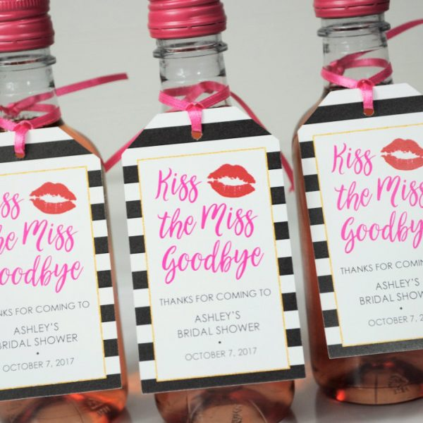 Bridal Shower Favor Tags Kiss The Miss Goodbye