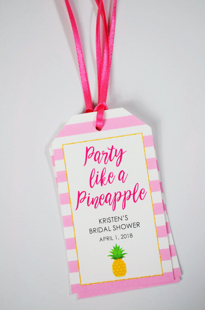 Bridal Shower Favor Tags, Party Like A Pineapple, Mini Wine Bottle ...