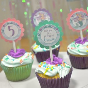 Cupcake Toppers Mermaid Birthday Girls Party Decorations 1st Under The Sea Set Of 12