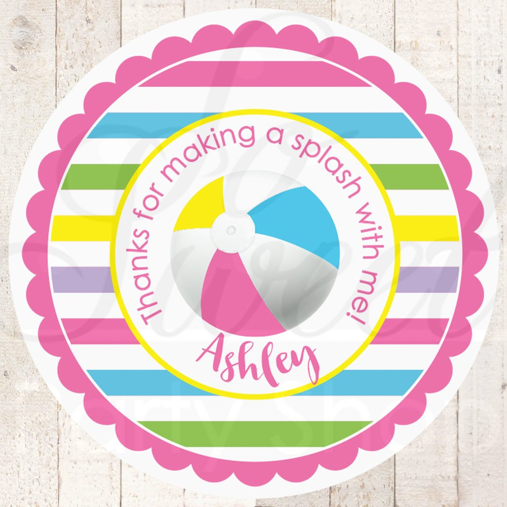 Girls pool party favor stickers birthday party summer party thank you tags personalized favor labels beach ball favors set of 24