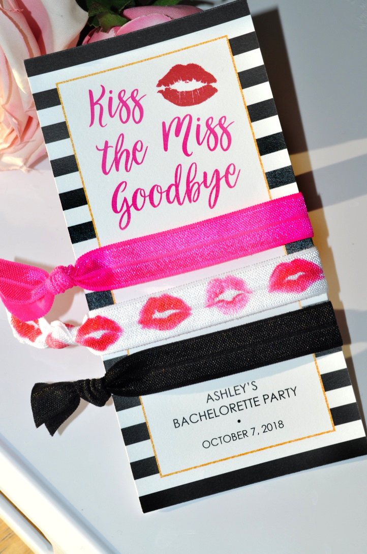 Hair Tie Kiss The Miss Goodbye Bachelorette Party Favors