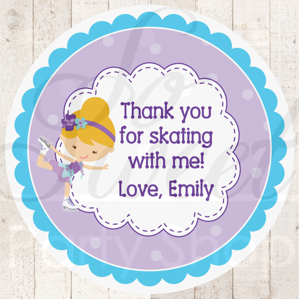 Ice skating birthday favor stickers girls skating birthday party thank you tag goodie bag stickers personalized favor labels set of 24