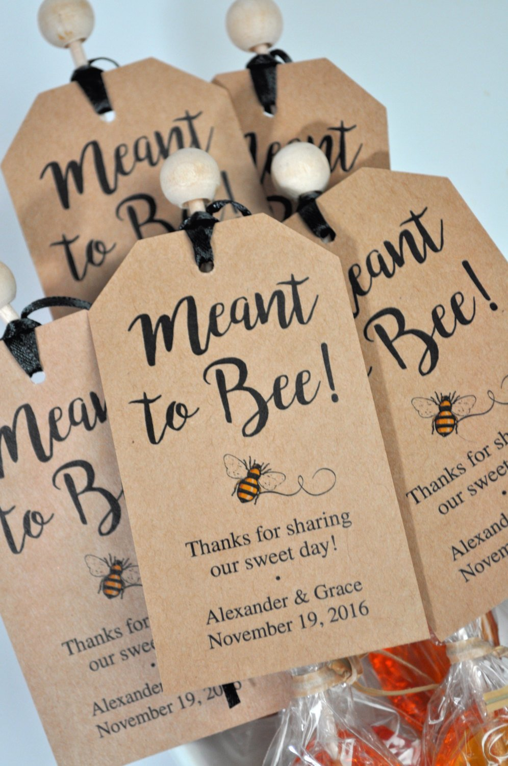 meant to bee bridal shower favor tags  rustic wedding