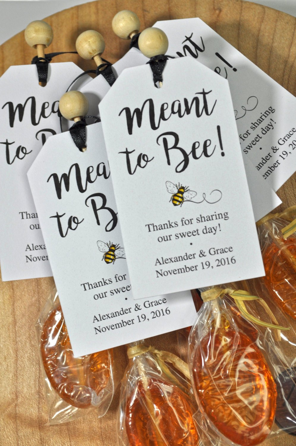 meant to bee bridal shower favor tags  wedding favors