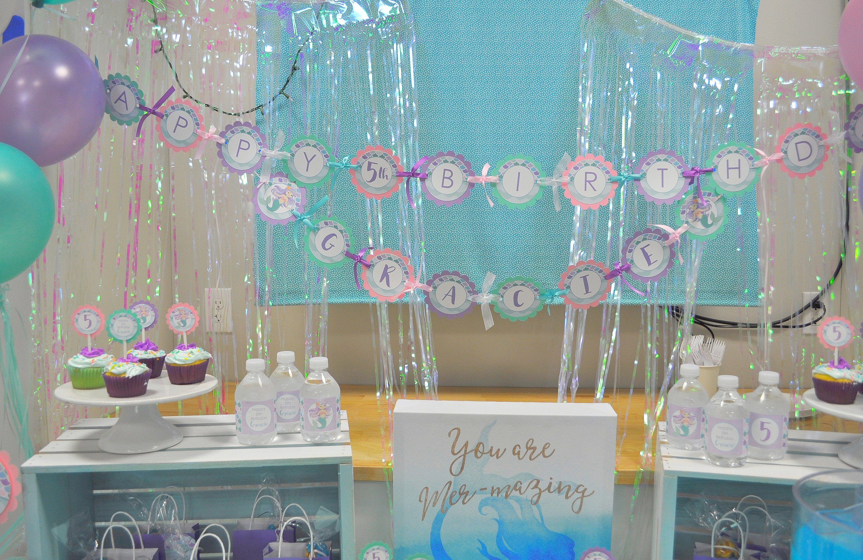 Mermaid Birthday BANNER 1st Banner Girls Party Decorations Under The Sea