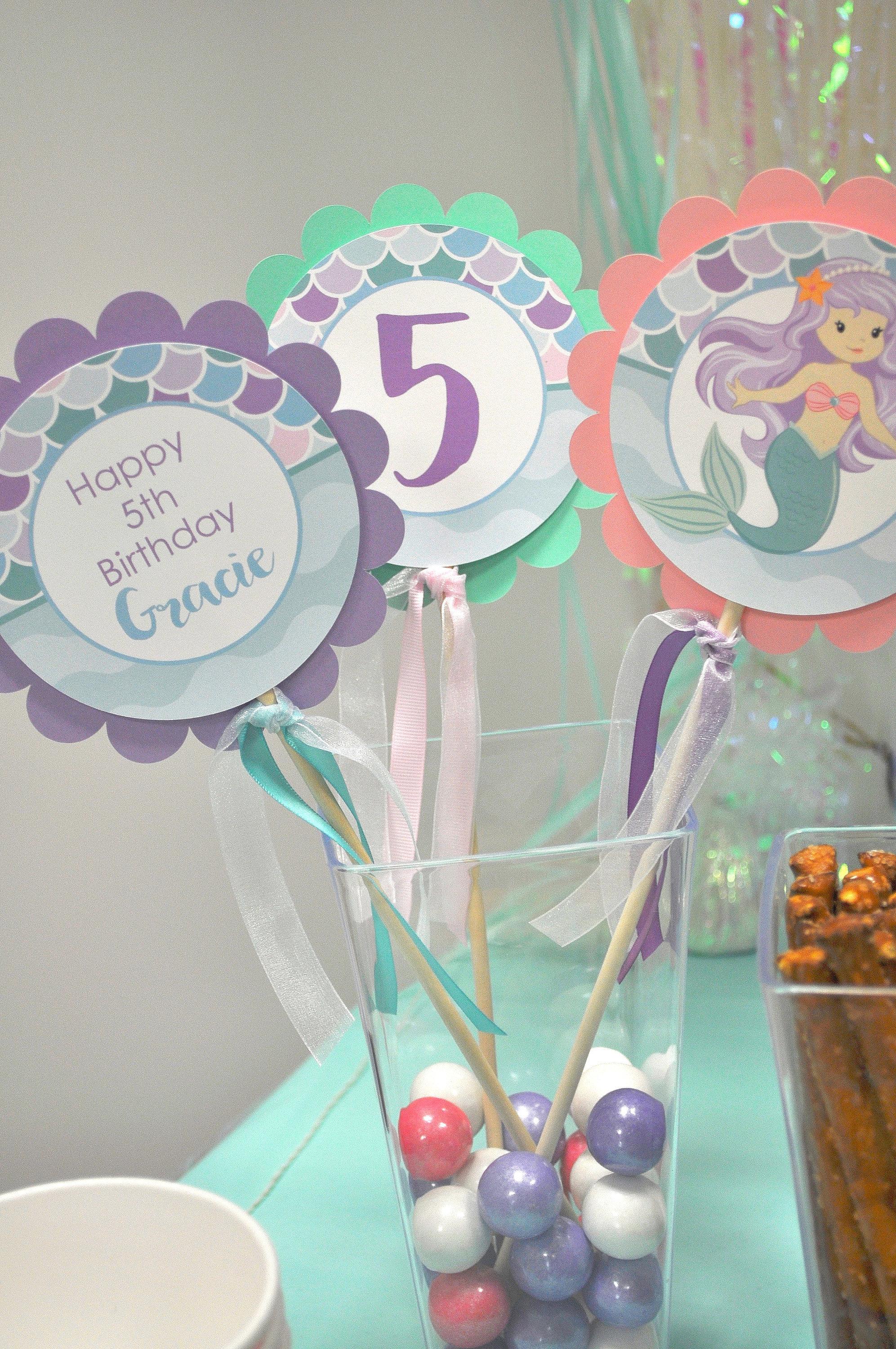 Mermaid Birthday Centerpiece Sticks 1st Girls