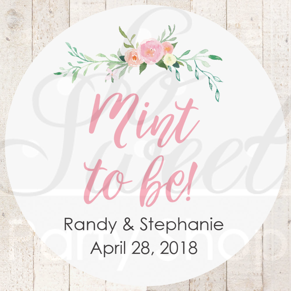 mint to be wedding favor stickers bridal shower