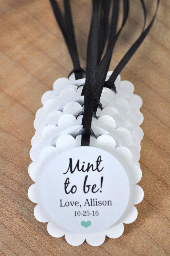 30x Personalised Heart Wedding Favour Tags Mint to be Wedding Tags
