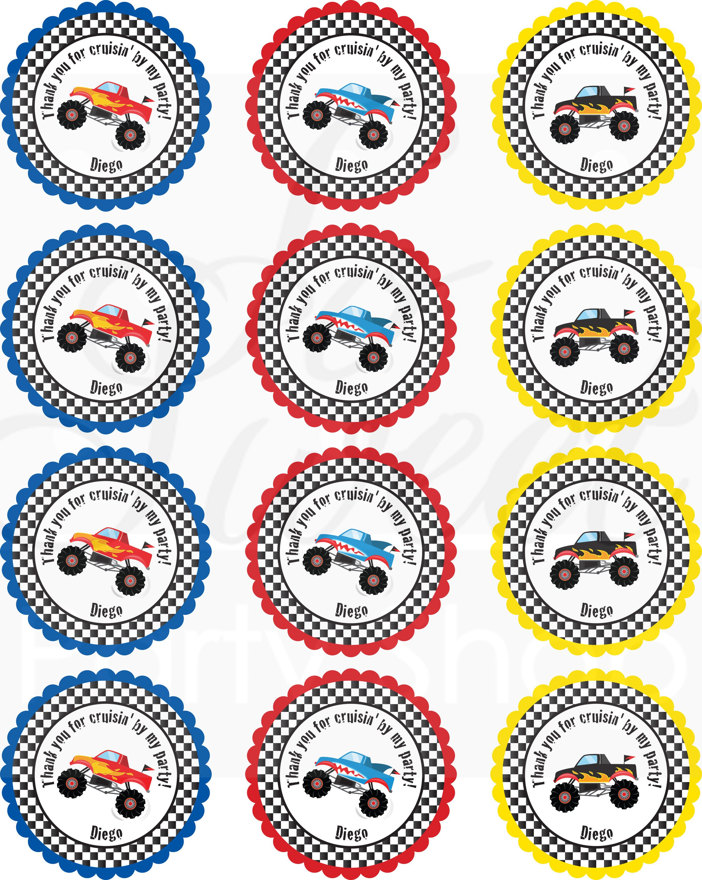 Monster Truck Birthday Party Favor Stickers, Racing Monster Trucks, Thank  You Stickers, Boys Birthday Party, 1st Birthday Party - Set of 24