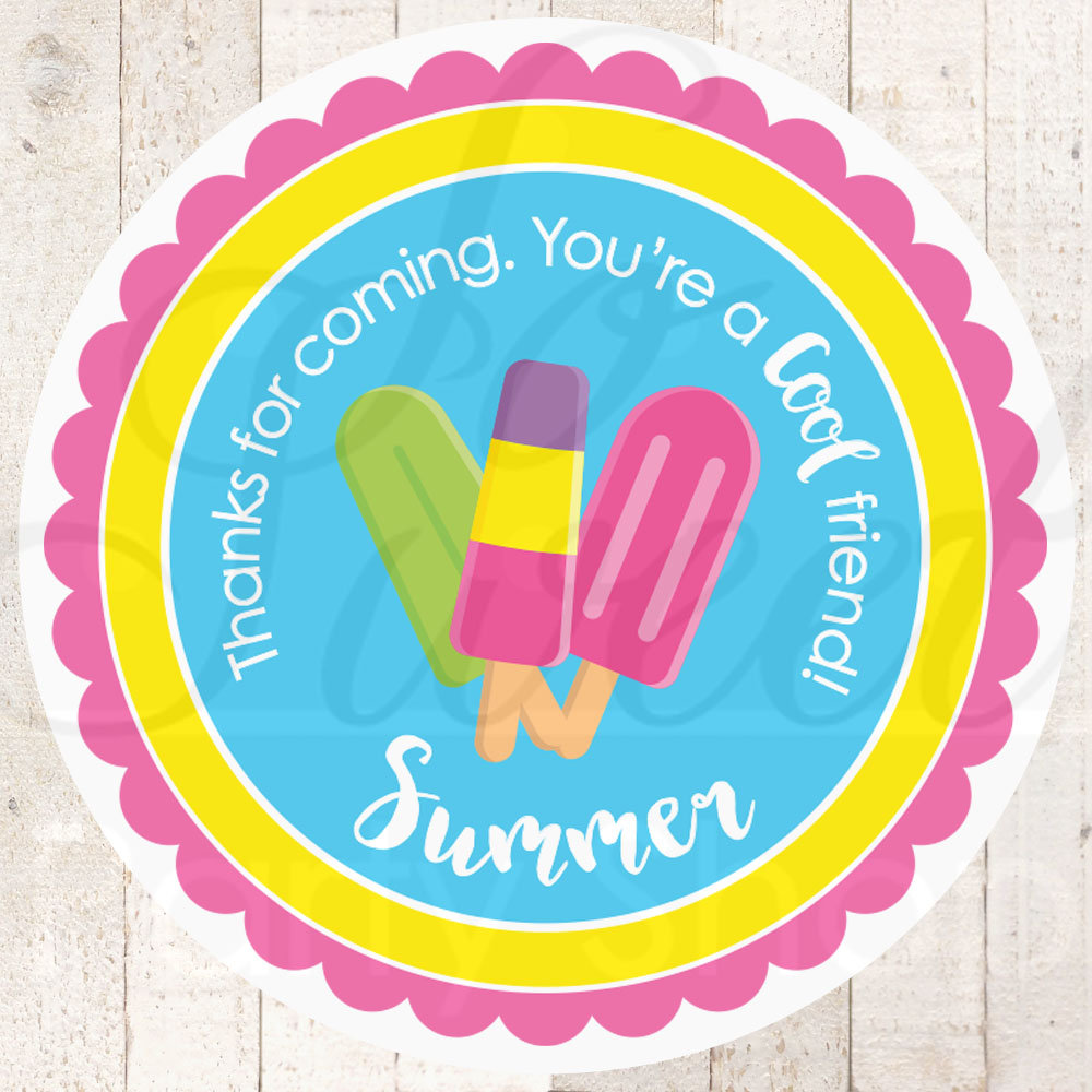 Popsicle party favor stickers