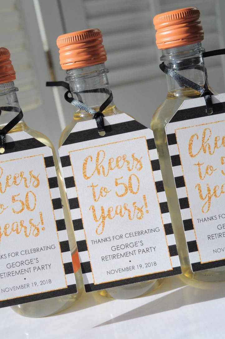 Retirement Wine Favor Tags, Party Favor Tags, Happy Retirement, Mini Wine  Bottle Tags, Champagne Tags, Gold Cheers to 50 Years - Set of 12