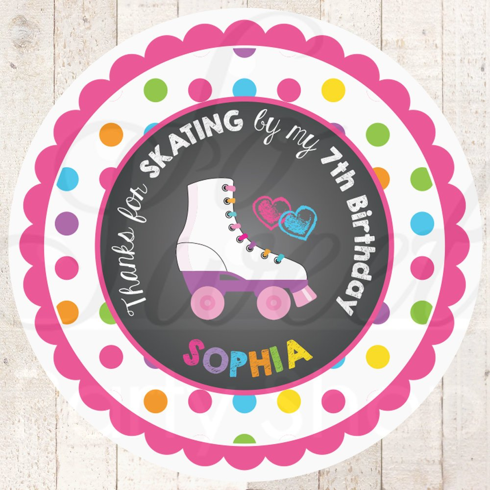 Roller skating birthday favor stickers girls skating birthday party thank you tag goodie bag stickers personalized labels set of 24