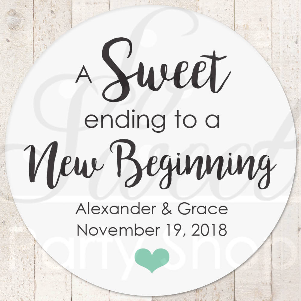Sweet ending to a new beginning wedding labels wedding favor stickers treat bag sticker sweet and salty snack stickers set of 24