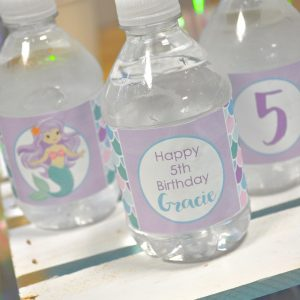 Water Bottle Labels Mermaid Birthday 1st Girls Decorations Party Under The Sea Drink Set Of 10