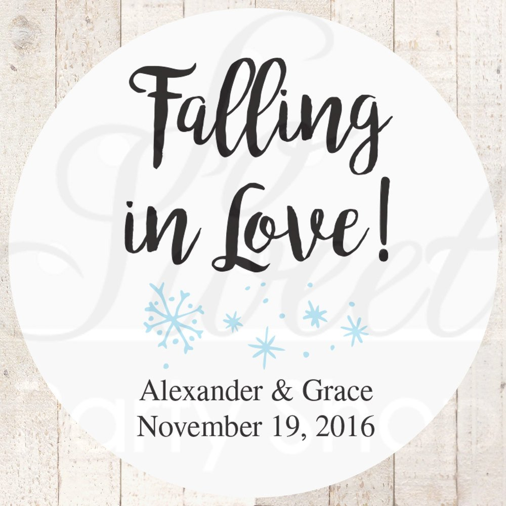 Wedding Favor Stickers, Falling In Love Snowflake Bridal Shower ...