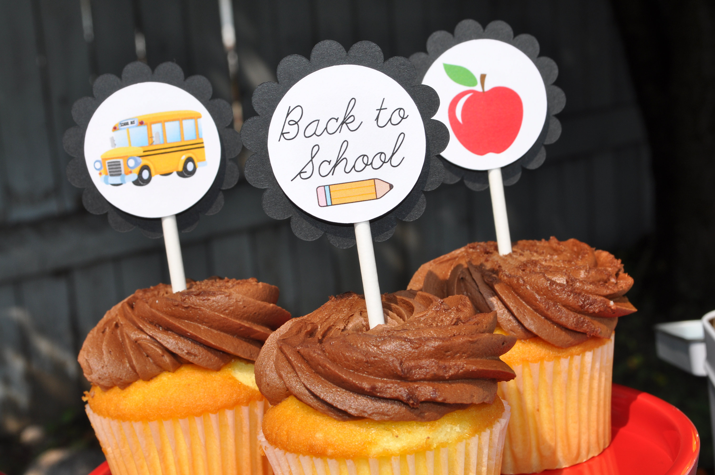Back To School Party Cupcake Toppers Teacher Classroom