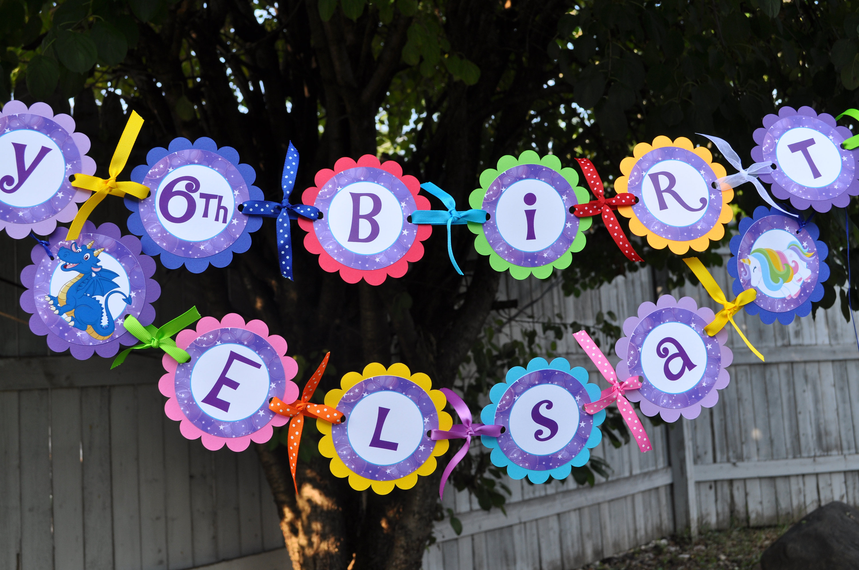 Birthday Banner Dragons Unicorns 1st Birthday Banner Rainbow
