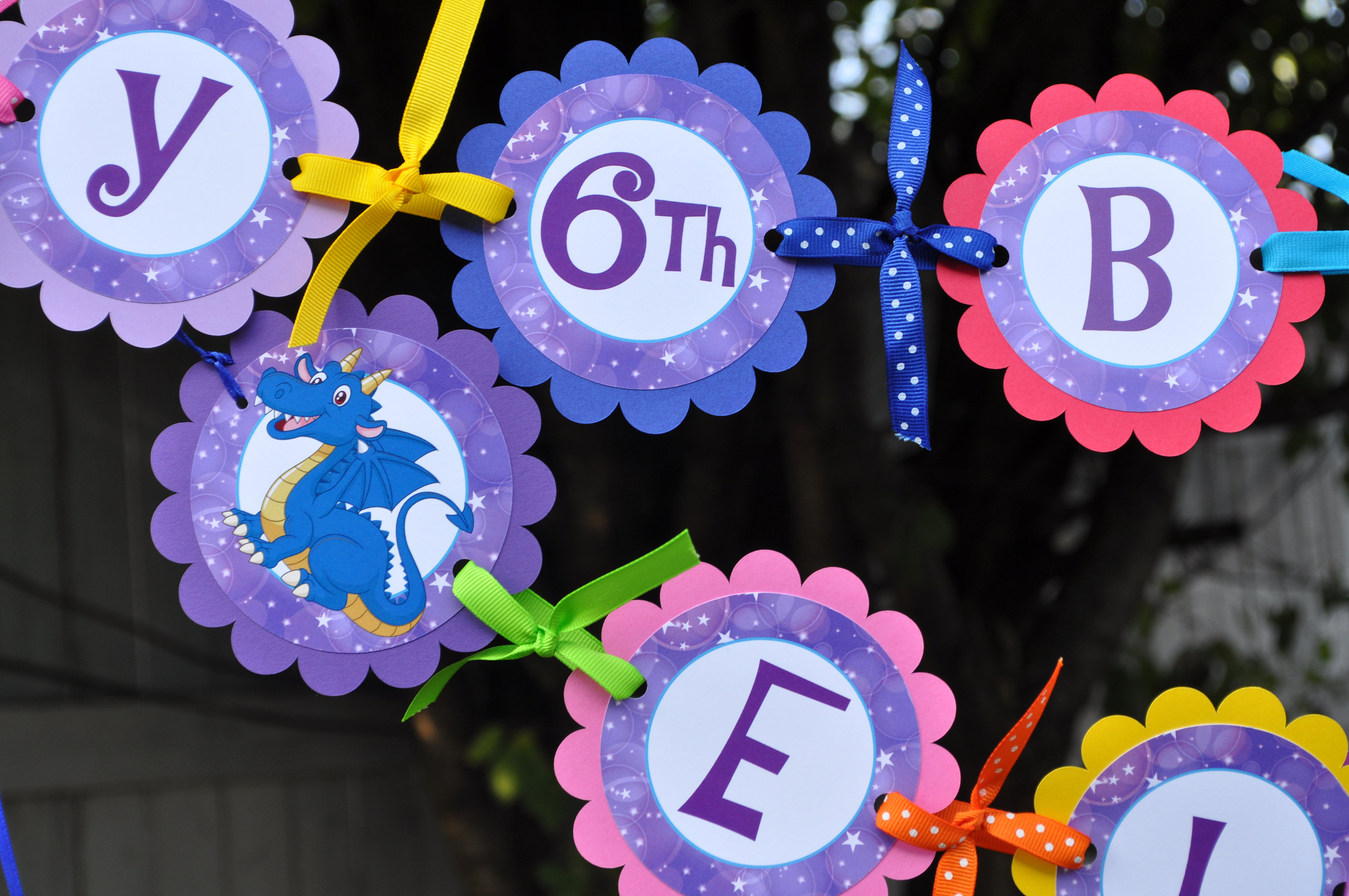 Birthday Banner Dragons Unicorns 1st Rainbow Party Decorations Kids Ideas Mythical Creatures