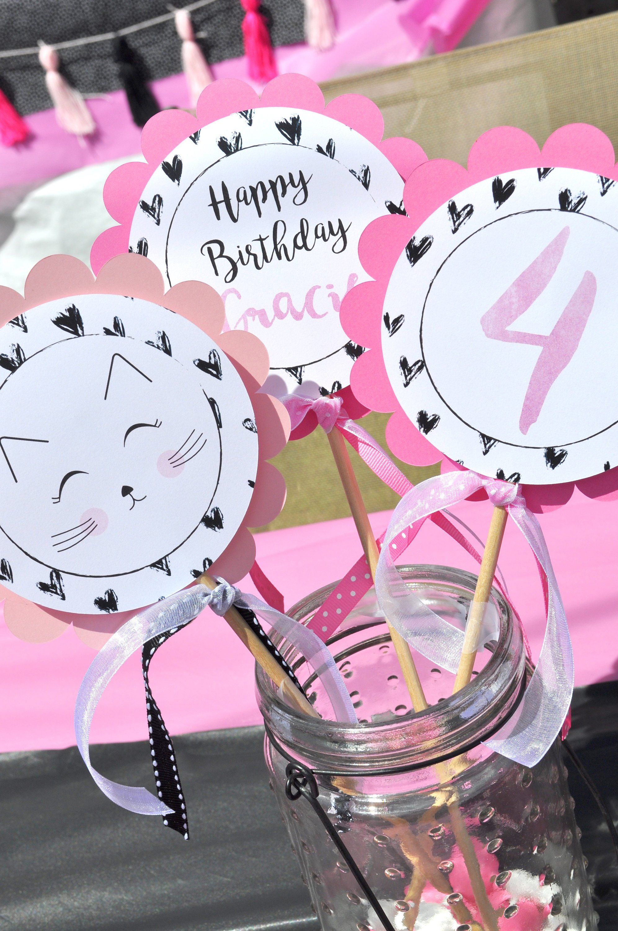 Kitty Cat Birthday Centerpiece Sticks 1st