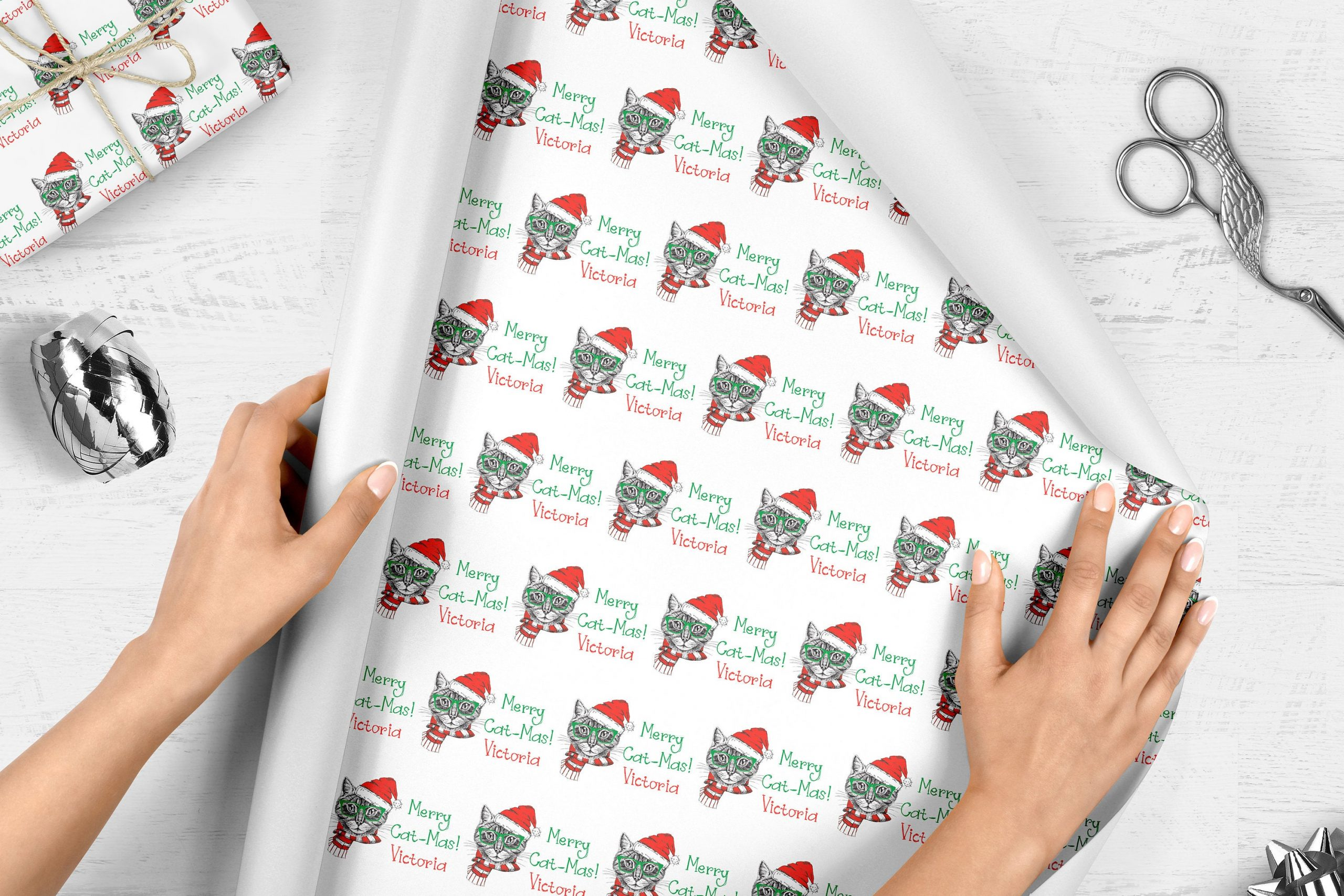 Cat Christmas Wrapping Paper Merry Cat Mas Pet Cat Gifts
