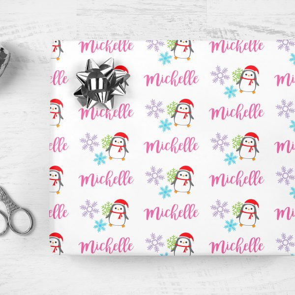 Holiday Wrapping Paper Personalized Name Christmas Gift Wrap Girl Penguin Personalized Name Wrapping Paper Unique Gift Wrap